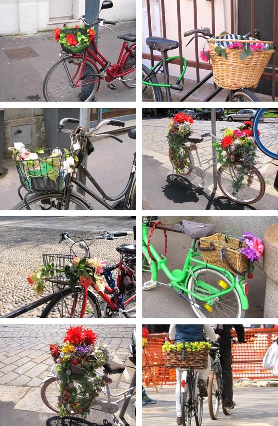 vélos décorés fleurs italie